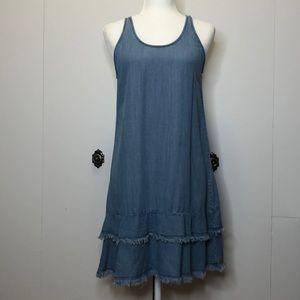 Cato faux denim frayed tiered ruffle dress